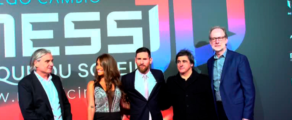 Messi arrives on the red carpet for the Cirque du Soleil show about his life.