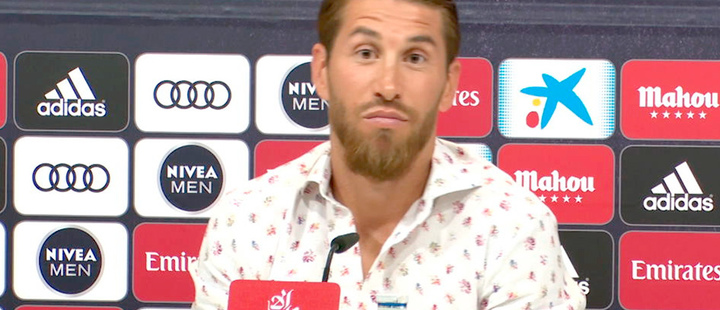 Sergio Ramos, during a press conference.