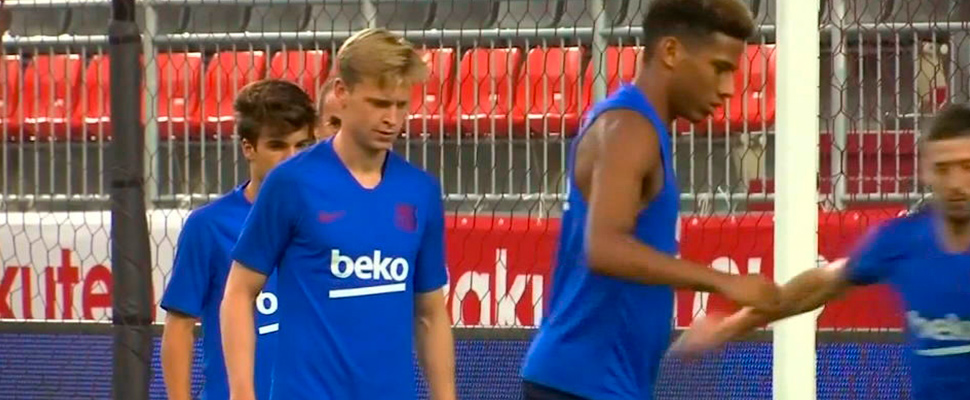 Frenkie De Jong, during training with FC Barcelona.