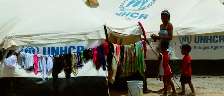Venezuelan woman with her children in the UN refugee camp in La Guajira, Colombia.