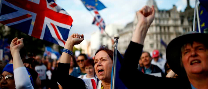 Protesters during a march through Brexit