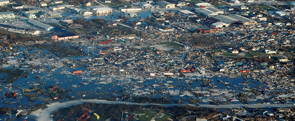 An aerial view shows the devastation after Hurricane Dorian that hit the Abaco Islands in the Bahamas