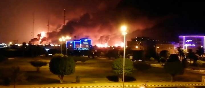 Saudi Aramco Oil facilities on fire.