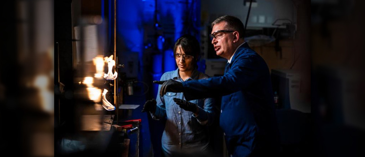 BYU Professor Tom Fletcher in his lab running tests on fire ignition.