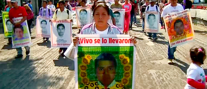 General view of parents of missing 43 students and their supporters on street.