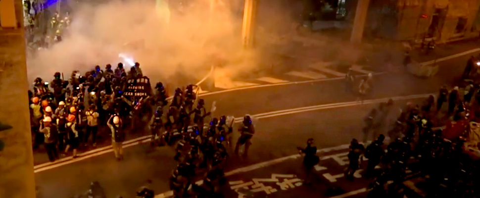Hong Kong police officers during pro-democracy protests