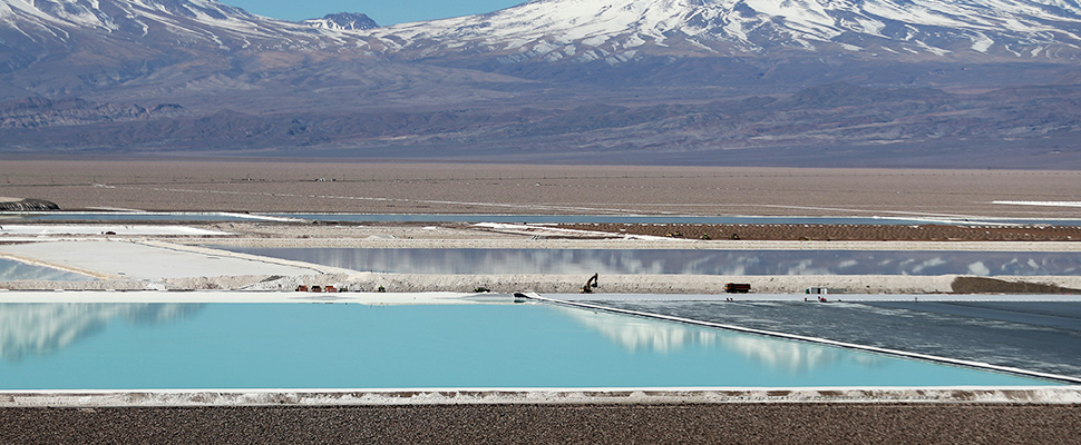 Brine pools of a lithium mine in the Atacama salt flat in Chile