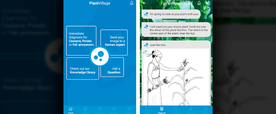 Screenshots of the Nuru PlantVillage application.