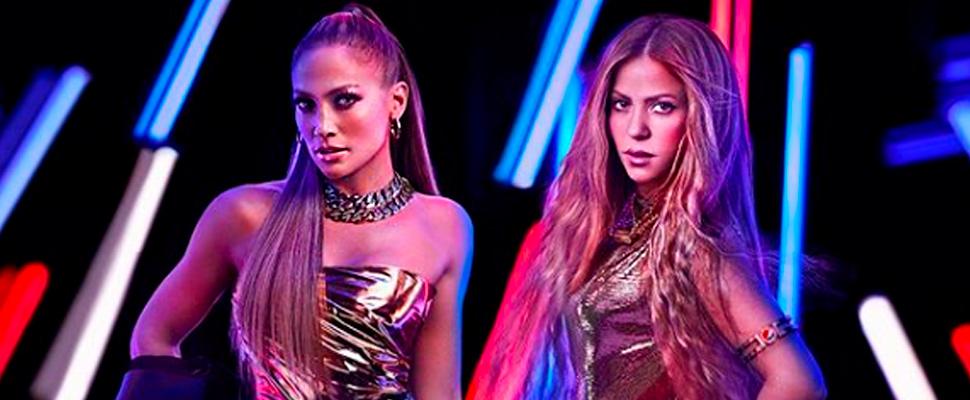 J Lo y Shakira en anuncio de su presentación en el SuperBowl.