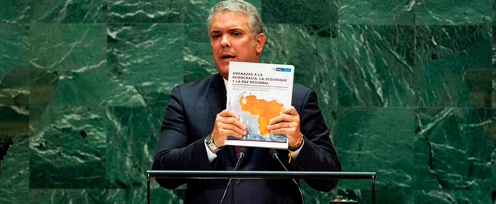 President of Colombia, Ivan Duque presenting evidence to the UN about Venezuela.