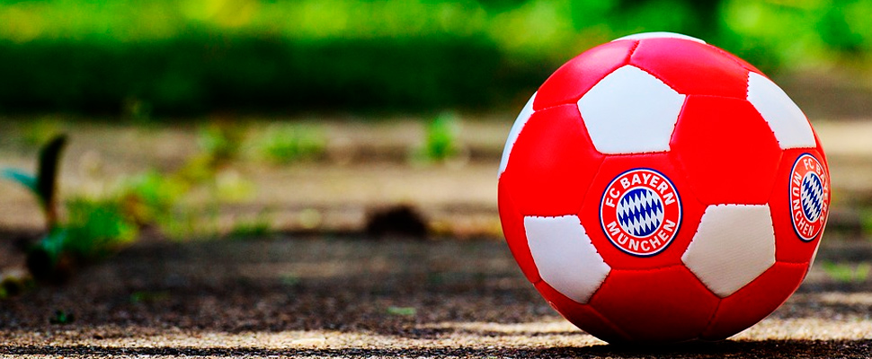Soccer ball with shield of the Bayern Munich team.