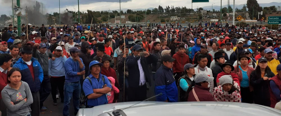 Farmers join protests in Ecuador.