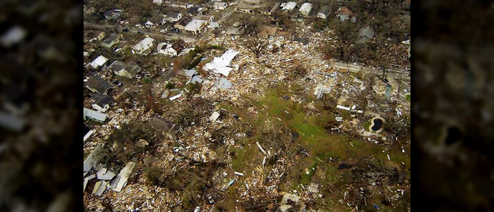 Many houses were leveled, gutted or flooded in Pascagoula, Mississippi, by Hurricane Katrina.