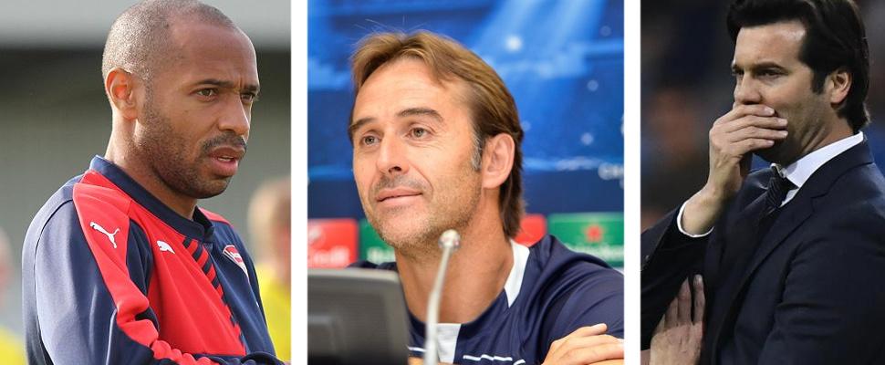 Thierry Henry, Julen Lopetegui y Santiago Solari.