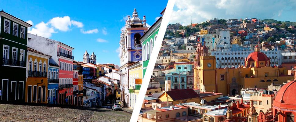 San Salvador de Bahía - Brasil y Ciudad histórica de Guanajuato - México