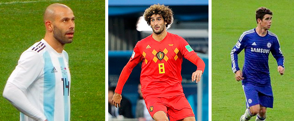 Javier Mascherano, Marouane Fellaini and Oscar