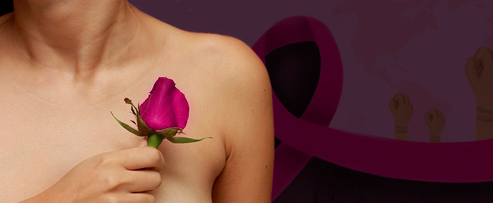 Woman holding a rose against her chest.