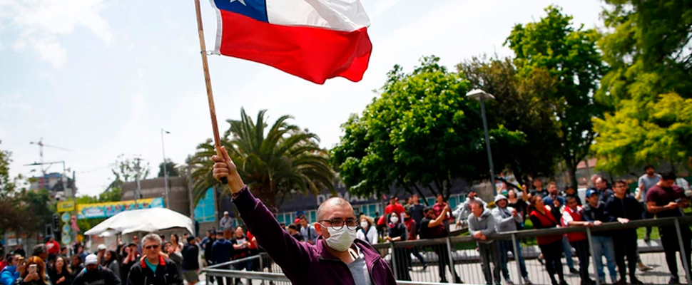 Protesters in Santiago de Chile.