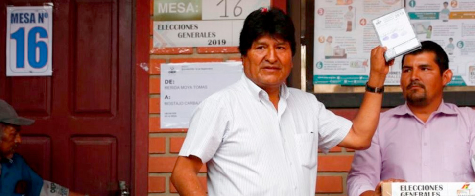 Evo Morales during election day.