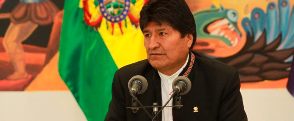 Evo Morales at a press conference.