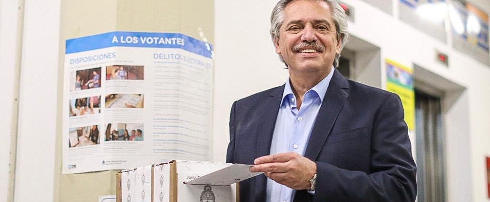 Alberto Fernández exercising his vote during election day in Argentina.