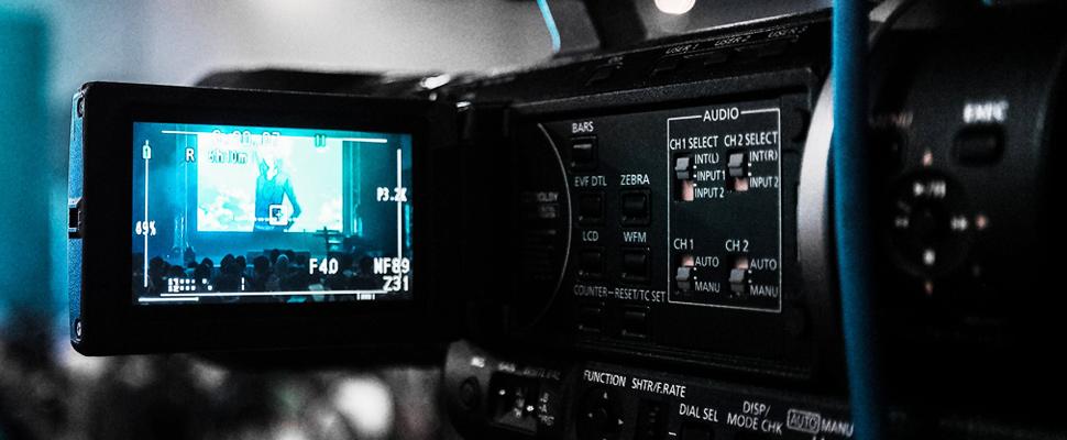 Camera recording scenes from a movie.