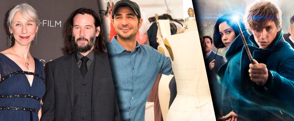 Keanu Reeves y su novia, diseñador Zac Posen y Cartel de la película 'Animales Fantásticos'.