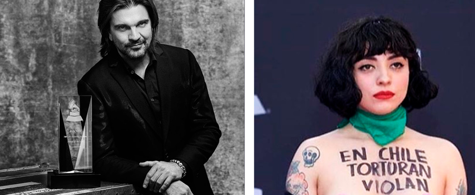 Juanes after the Person of the Year ceremony at the Latin Grammy, and Mon Laferte on the red carpet.