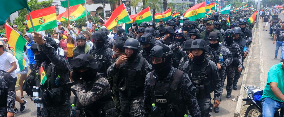Group of police officers during the marches in Santa Cruz, Bolivia.