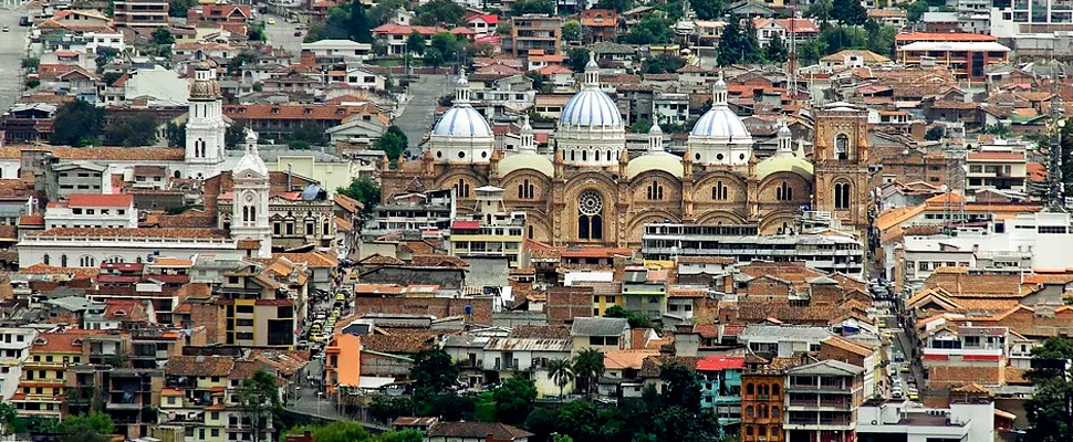 Aerial view of the cathedral of Cuenca in Ecuador.