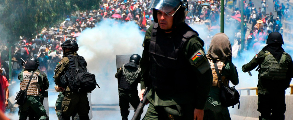 Police during the marches in Bolivia