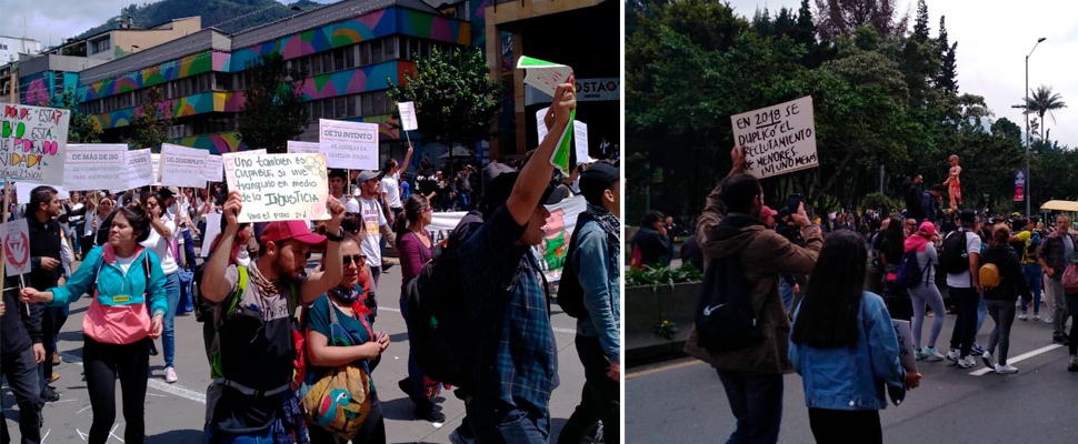 Crowd march in Bogotá within the framework of the 'National Paro 21N'.