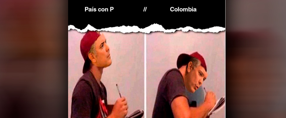 Meme of President Iván Duque's confusion about the initial letter of Colombia.