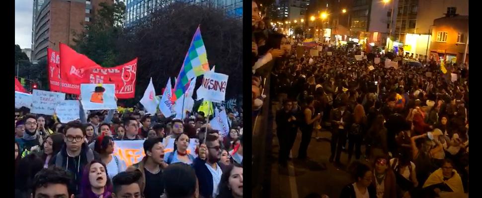 Grupo de personas durante las marchas del día para la Eliminación de la Violencia contra la Mujer en Bogotá.