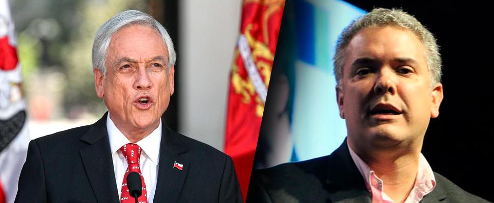 Sebastián Piñera, presidente chileno e Iván Duque, presidente colombiano.
