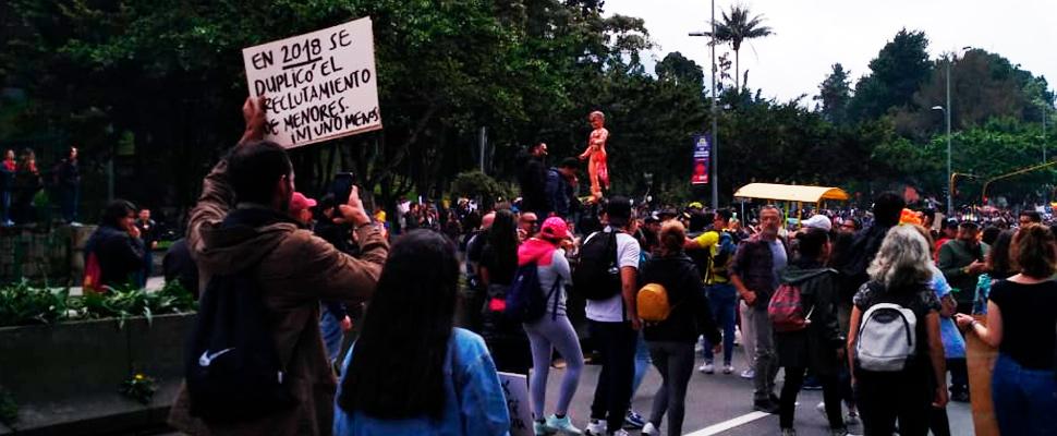 Marchas de distintos sectores en Bogotá, Colombia.