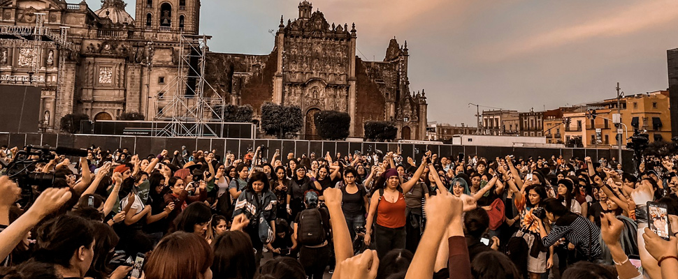 'A rapist in your path' chanted by women in the Mexico City Zocalo.