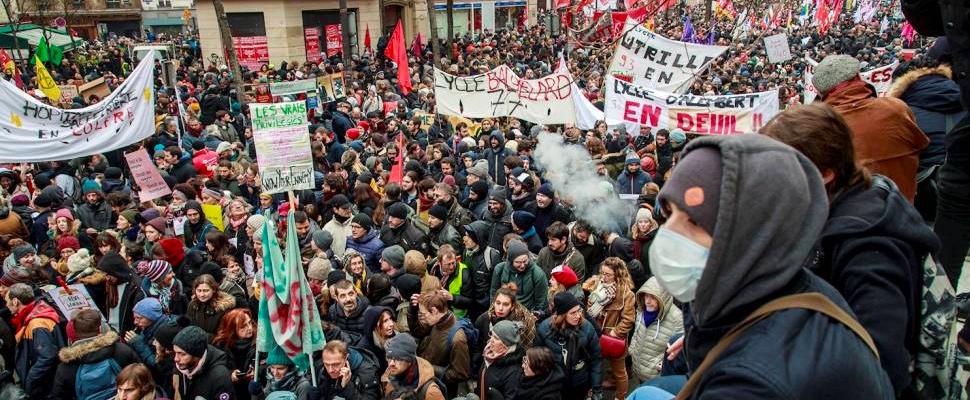 Protestas en Francia por la reforma pensional propuesta por el Gobierno de Emmanuel Macron.