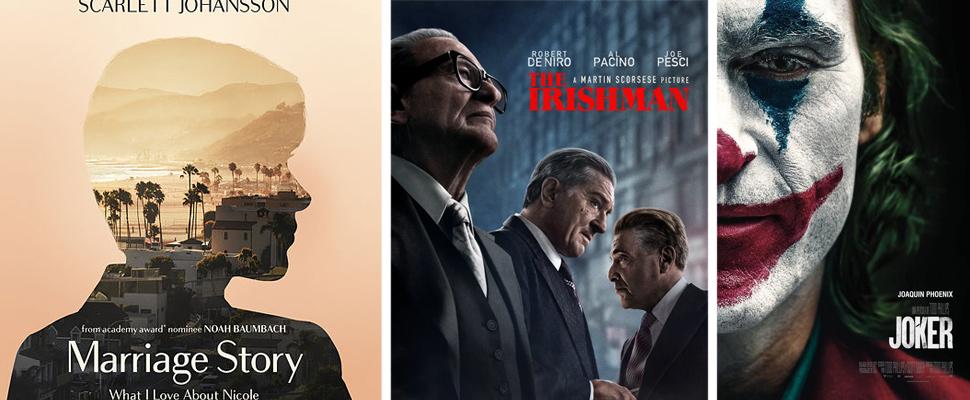 Poster de las películas: 'Marriage Story', 'The Irishman' y 'Joker'.