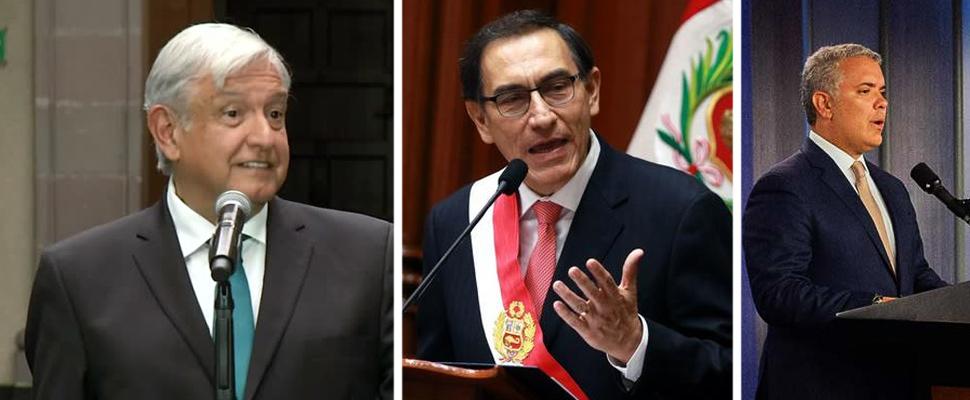 Andrés López Obrador, Martín Vizcarra, Iván Duque.