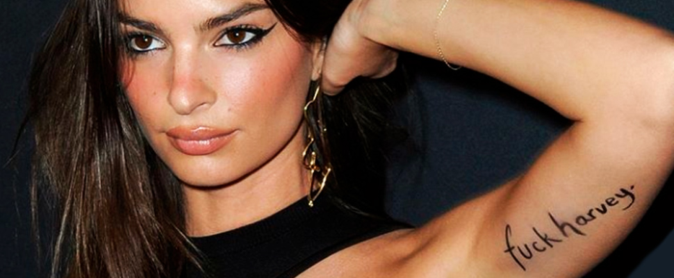 Emily Ratajkowski, with a message on her arm for Harvey Weinstein.