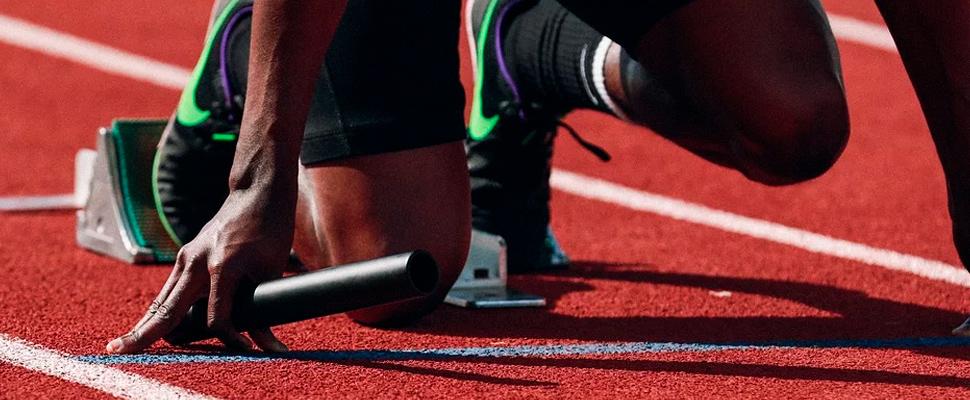 Runner on a running track.