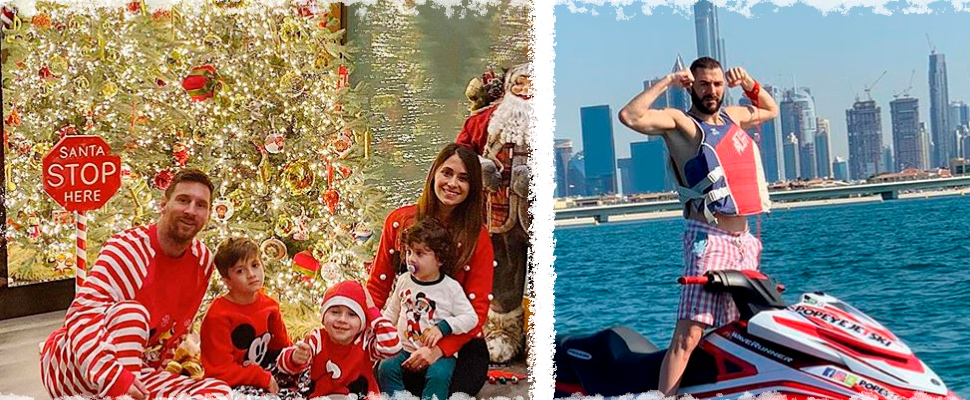 Leonel Messi and his family during Christmas and Karim Benzema.