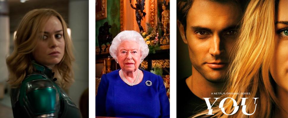 Fotograma de la película 'Capitana Marvel', Reina Isabel II, póster de la serie 'Tú'.