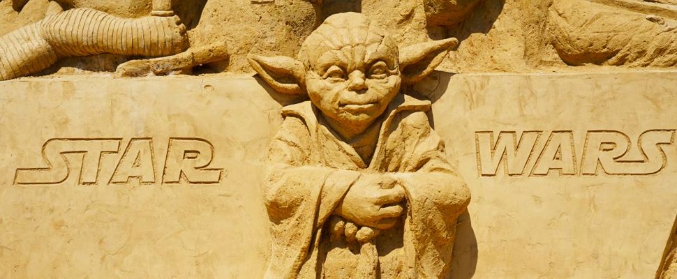 Yoda sculpture, character from 'Star Wars'.