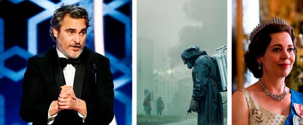 Joaquin Phoenix, póster de la serie 'Chernobyl', escena de la serie 'The Crown'.