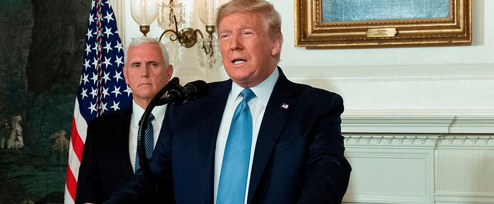 Donald Trump en una conferencia de prensa.
