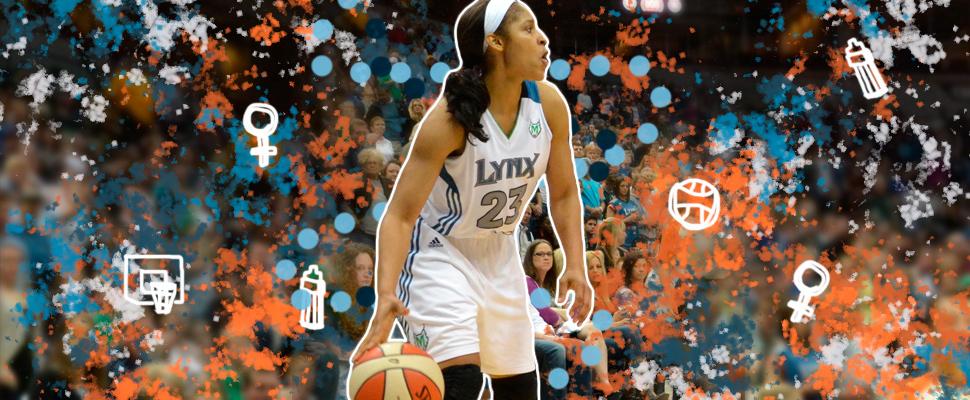 Maya Moore durante un partido de baloncesto.