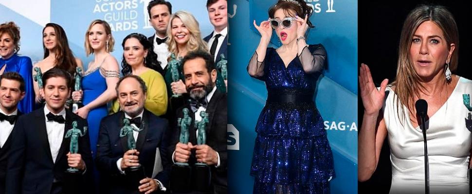 Elenco de 'La maravillosa Sra. Maisel', Helena Bonham Carter y Jennifer Aniston.
