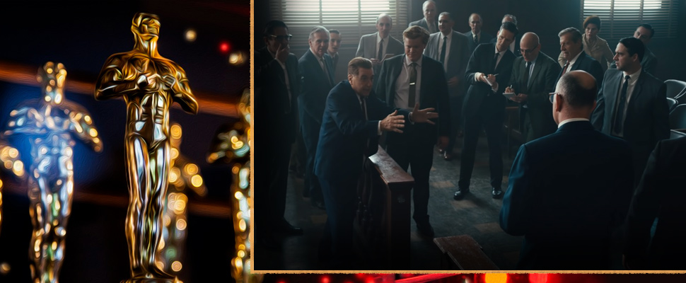 Oscar statuette and frame of the movie 'The Irishman'.